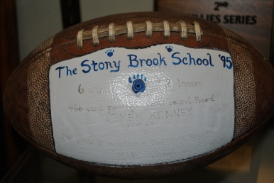 The game ball from the fabled contest against Bayport on 11/11/95 in which LI records for passing yards and receptions in a game were set by Kenney and Vega