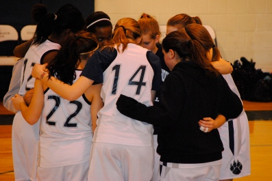 The girls come together before the game
