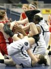 Andraya Spiliotis wrestles for a rebound