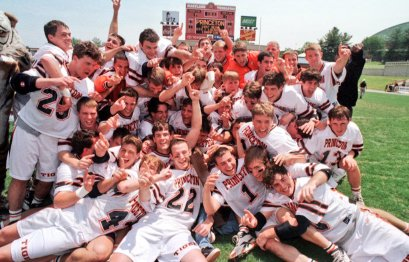 Jake Kenney (back row, right) & Princeton celebrate the 1997 title