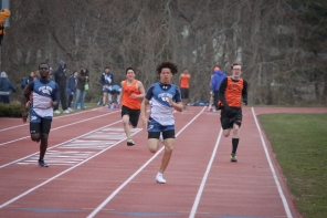 Andrew White blows away the competition in the 100m dash (Photo: TJ Valet)
