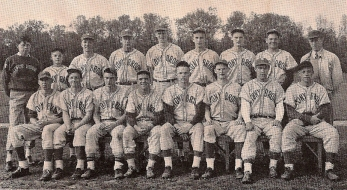 The 1945 baseball team. Medd (1st row, 4th from right), Swanson (right of Medd) & Downey (right of Swanson)