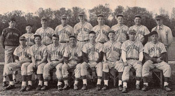 The 1945 baseball team. Medd (1st row, 4th from right), Swanson (right of Medd) & Downey (right of Swanson)