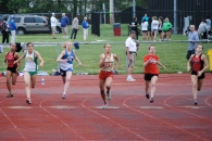 Rebecca Hollis rounds the curve in the 200