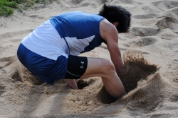"""Brian Jeong lands his 19' 3"""" jump"""