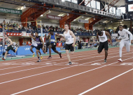 2. Khoren Lawson crosses the finish line in 7th place in the 60m at the Indoor National Championships