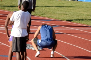 White collects his thoughts prior to the 4x100