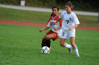 Emily Pius controls the ball