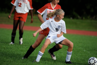 Annie Skorobohaty pursues the ball