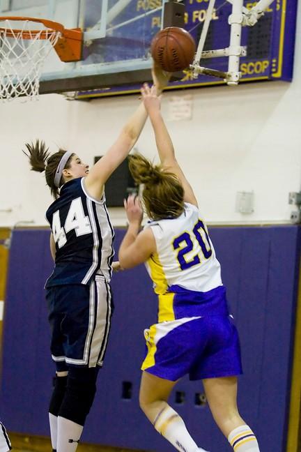 Spiliotis blocks a shot vs. Sayville (Photo credit: Karen Singer)