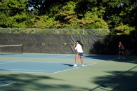 Sadhana Sridhar unloads one of her powerful forehands