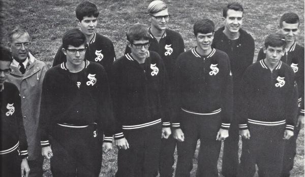 The '67 Harriers (Left to right: Luvalle, Coach Goldberg, Swanson, Barclay, Etherington, Dreger, Hollis, Coach Lingle, Constant, Iatauro)