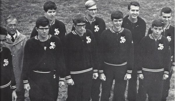 The '67 Harriers (Left to right: Luvalle, Coach Goldberg, Swanson, Barclay, Etherington, Dreger, Hollis, Coach Lingle, Constant, Iatauro)