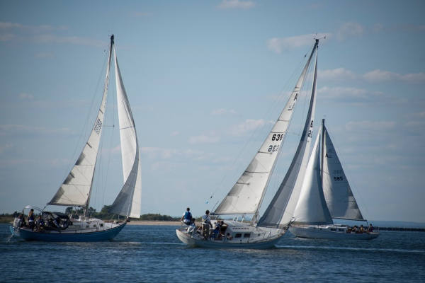 The sailors during practice in Port Jeff Harbor earlier this season (Photo credit: Bruce Jeffrey)