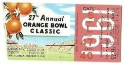 1961 Orange Bowl ticket