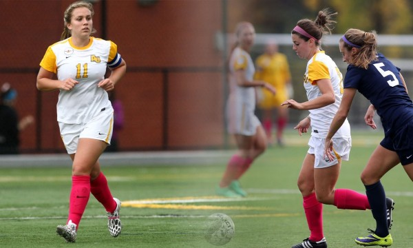 Liotine (#11) & teammate Taylor Salmon (right) were selected All-ECAC (Photo credit: Adelphi University)