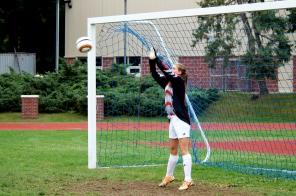 Morgan makes a stop in goal