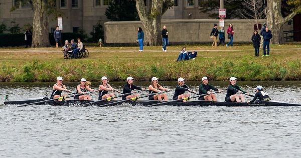 Emily Andersen (2nd rower from right) competes in the Head of the Charles this past fall
