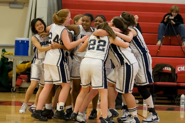 The girls celebrate their Class C County title over Port Jeff earlier in the week
