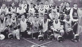 Tilley (2nd row, 2nd from left) on the Bears' JV lacrosse team in 2000