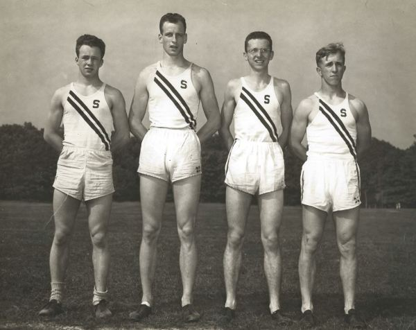 Dodd (2nd from right) and the '49 mile relay team that captured Penn Relays glory