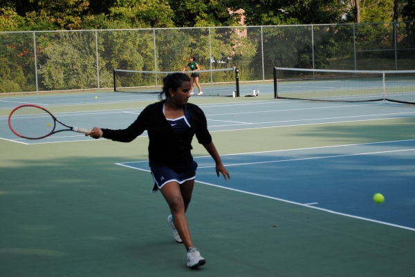 Sadhana Sridhar during her singles victory on Wed.