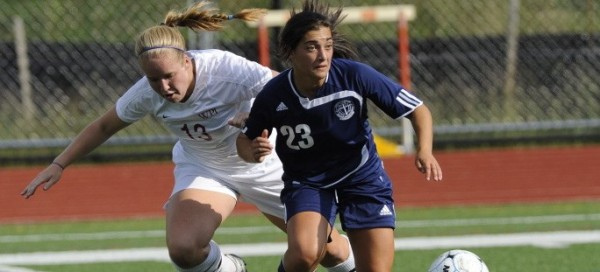 Scavo battles for the ball in a 2-0 win over WPI