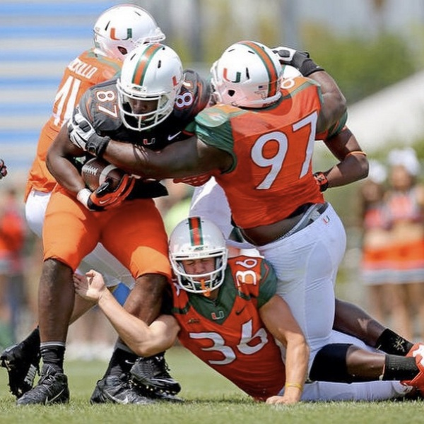 Washington (#87) during Miami's spring game last March