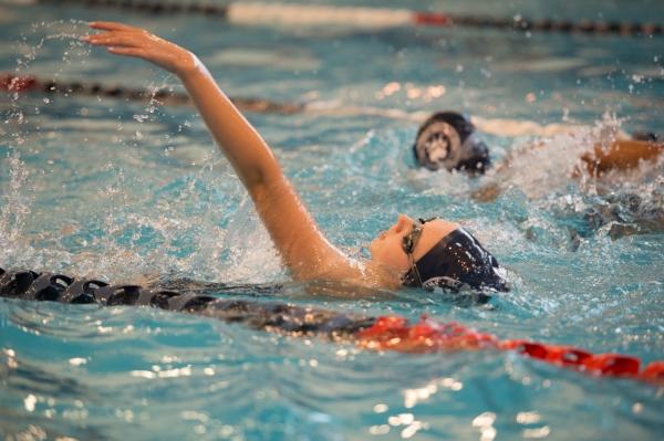 Rachel Crane, seen here vs. William Floyd, turned in the best backstroke in Stony Brook history (Photo credit: Bruce Jeffrey)