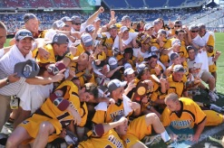 Salisbury celebrates the 2008 title (Titus is holding the trophy)