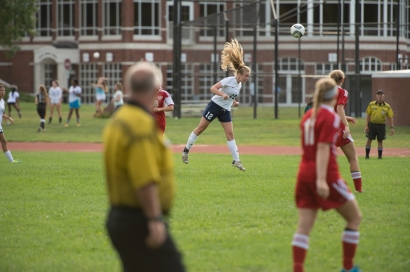 Laura Reeve sends a ball upfield (PC: Bruce Jeffrey)