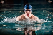 Ben DiRuggiero cut through the water as boys' swimming returned for the first time since 2004 (PC: Bruce Jeffrey)