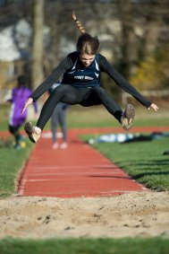 Meghan Hutzler was one of the best horizontal jumpers for the girls' track team (PC: Bruce Jeffrey)