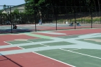 New chain link fencing on the courts' interior