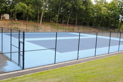Courts 3 & 4 get a coat of blue paint
