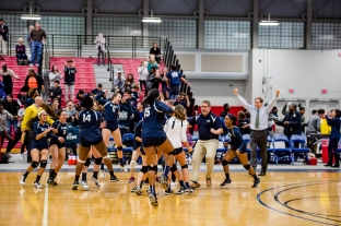 The volleyball team celebrates their 1st County Championship last year (PC: Linnea Piazza)