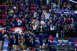 The Bears' huddle ringed by 200 faithful fans
