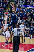 Jyles Etienne throws down a dunk at the state semifinal (PC: Bruce Jeffrey)
