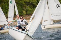 Kadin Via & Matt Sparacio catch the wind during the fall dinghy season (PC: Bruce Jeffrey)