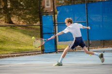 Jovan Haynes shows off his backhand for the JV tennis team (PC: Bruce Jeffrey)