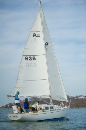 The Sea Wind plies the waters of Port Jeff harbor during the spring keelboat season (PC: Bruce Jeffrey)
