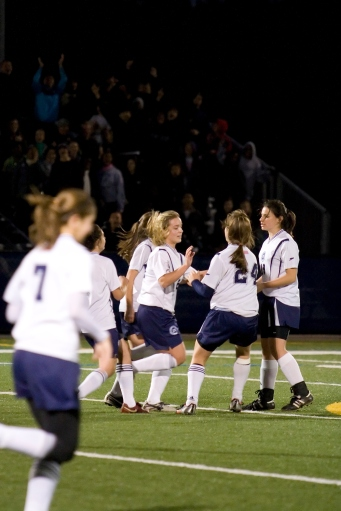 The girls celebrate Donna Liotine's goal and a 2-0 lead