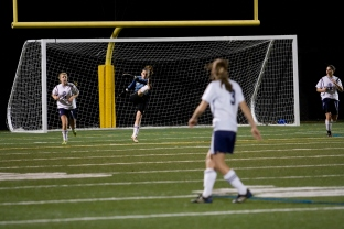 Danielle Pappas clears the ball after a save