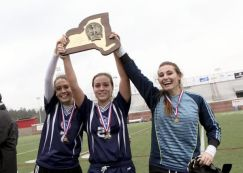 Rebekah Sides, Liotine & Pappas show off the school's first State trophy
