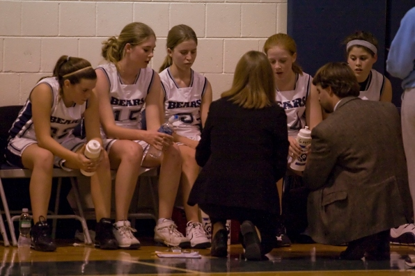 Keith Singer & Amy Helm strategize during a timeout