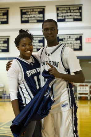 Keara Vancol & Mike Dingammadji after a boys' win (PC: Gianna Scavo)