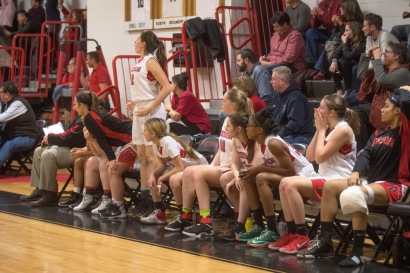 Pierson's bench reacts after Stony Brook takes the lead