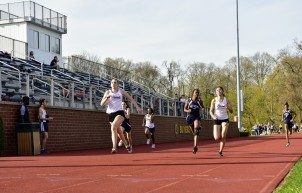Hannah Detwiler & Diana Barbacena take the top 2 spots in the 100m vs. Ross (PC: Angela Leung)