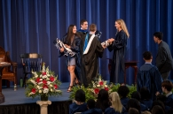 Sam Petersen & Hannah Detwiler accept their Bear Blankets