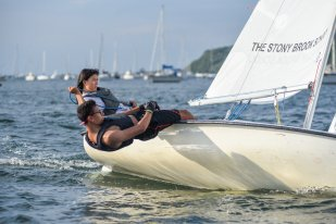 Alysa Jette & Will Meitz during the fall dinghy sailing season (PC: Leslie Paige)